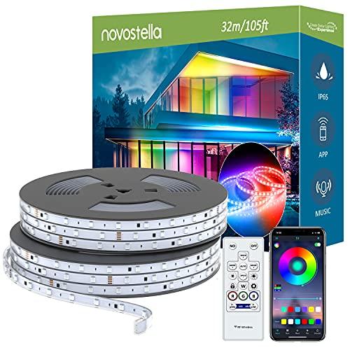 Novostella 32 Metros Tiras LED RGB+IC Impermeable IP65 de Exterior (16Mx2), Tira de luz Efecto de Arcoíris Control de APP 16 Millones de Colores, Sincronización de Música para Jardín, Piscina, Fiesta
