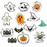 Cortador de Galletas de Halloween,Moldes de Galletas,10 Pcs Moldes para Galletas De Halloween,Formas Variadas Galletas,Gato, cráneo, Araña,fantasma, bruja,murciélago,Humanoide,telaraña.