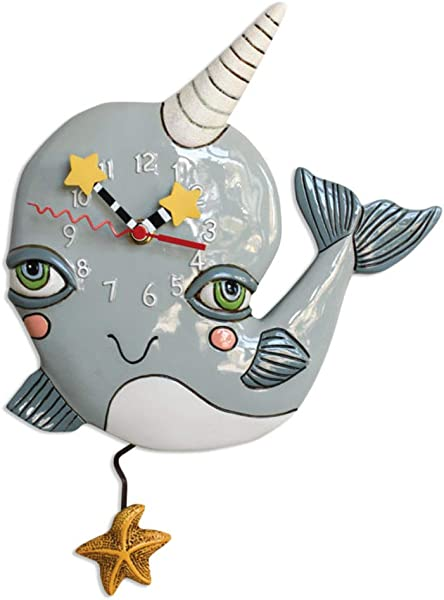 Allen Designs Whimsical Whale Pendulum Wall Clock Narly Narwhal