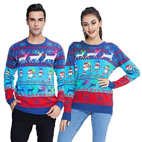 chicolife Luces navideñas para Mujer Suéter de Ciervo Lindo para Hombre El Mejor suéter de Navidad Feo para Vacaciones Jersey con luz LED Jersey Tops Casuales para otoño Invierno XXL