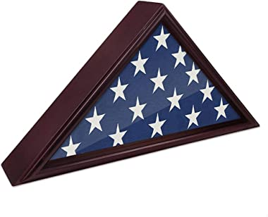 DecoWoodo Flag Display Case Burial or Funeral Flag Frame 5 x 9.5' Mahogany Flag Shadow Box