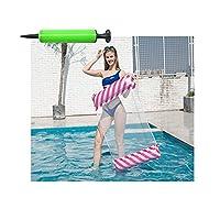 Premium Swimming Pool Float Hammock, Multi-Purpose Inflatable Hammock (Saddle, Lounge Chair, Hammock, Drifter), Water Hammock Lounge(Send 1 Inflator Pump),Rose red stripes