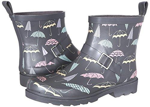 Capelli New York Ladies Umbrella Printed Short Rain Boot Grey Combo 10