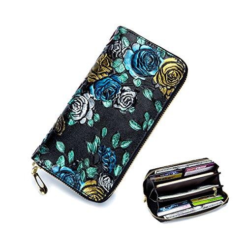 Lange Echtleder Geldbörsen für Frauen Mädchen Lange 3D Stereo Echtes Leder Brieftasche Brieftaschen 8 Kartenfächer, 2 Geldscheinfächer, 2 Geldtaschen, 1 Reißverschlussfach und 1 Fach für Telefon Gold