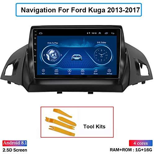 PLOKM Auto GPS Navigation Fahrzeug Autoradio Android 8.1 Navigation mit Canbus für Ford Kuga 2013-2017 Unterstützt WiFi Bluetooth USB Mirror Link Lenkradsteuerung Autoradio