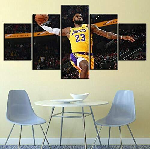 3D Leinwandbilder 5 Teile XXL Vlies Leinwand Bilder Dekoration Lebron James NBA Lakers Kavaliere Hitze Basketball Bild Auf Leinwand 5Tlg Bilder Mehrteilig Zum Aufhängen 150×80Cm (Mit Rahmen)