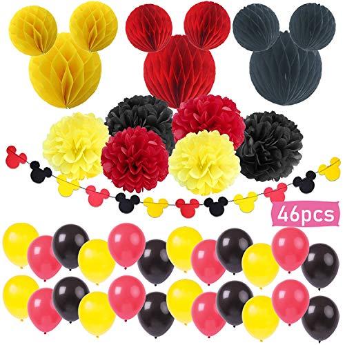 boogift 46 pcs Decoraciones de cumpleaños de Mickey Mouse,Artículos para la Fiesta de Minnie Mouse Decoraciones de cumpleaños Rojo y Negro para niñas