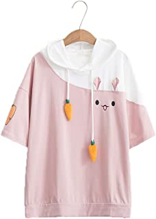 Packitcute Bunny Cute Hoodies, Fashion Print Soft Patchwork Hooded Pullover Hoodie Women