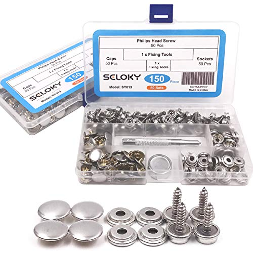 150 Pcs Snaps Fastener Screw Snaps, Heavy Duty Metal Snaps Button for Boat Canvas with 2 Pcs Setting Tool by Seloky, 50 Sets(Marine Grade, 3/8' Socket, 5/8' Screw)