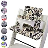 BambiniWelt - Cojín de asiento para trona Stokke Tripp Trapp, en 20colores, asiento de 2piezas, funda de repuesto beige Beige Braune Tiere