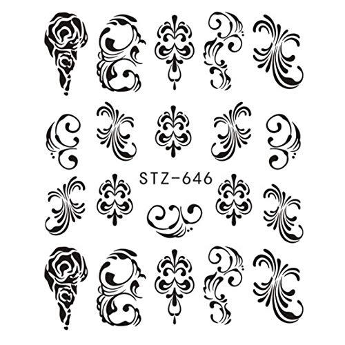 1pc Black Flower Vine Nail Water Sticker Decals Leaf Lace Design Slider Nail Art Decoration Sticker DIY Winter Wrap CHSTZ645-658