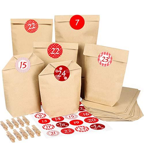 Adventskalender zum Befüllen, 24 Adventskalender Kraftpapiertüten, mit 24 Zahlenaufklebern und Klammern, Geschenktüte zum Basteln und Befüllen DIY Adventskalender Selber Basteln,
