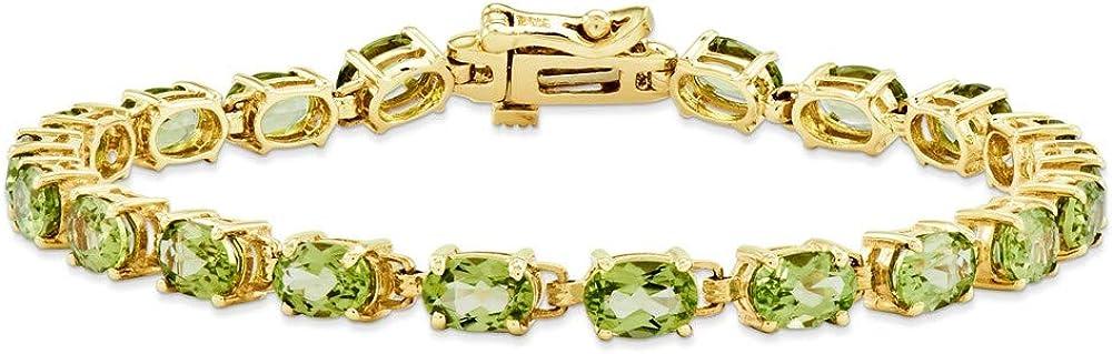 Bracelet 14K Yellow Gold bracelet Peridot Financial sales OFFicial sale 7 Green Oval Gemstones