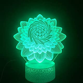 Lotus Flower 3D Lamp Beautiful Reward for Child for Christmas Decorative 7 Color with Remote Nightlight USB Led Night Ligh...