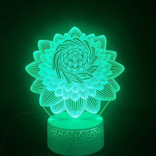 Sanzangtang Led-nachtlampje, 3D-vision-seven, kleuren-remote lamp, lotus, mooi cadeau voor meisjes, vakantie, decoratie, kleurverandering met afstandsbediening, nachtlampje, baby