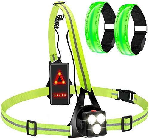 Ancocs Linterna LED recargable por USB con 2 pulseras LED, impermeable, luz...