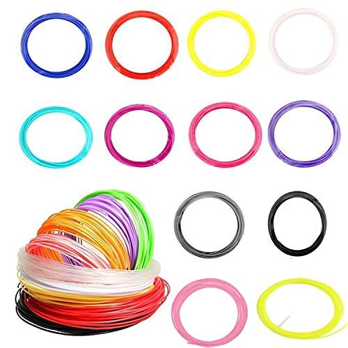 Bolígrafo 3D, bolígrafo de impresión 3D inteligente con filamento de 12 colores, compatible con PLA y ABS, Pantalla LCD, 3D Pen Juguetes/Regalos para Niños (filamento)