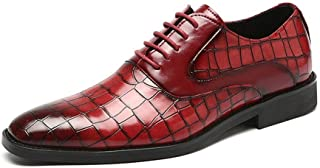 Leather Business Oxfords for Men Dress Shoes Lace up PU Leather Pointed Toe Embossed Burnished Style Patchwork shoes (Color : Red, Size : 46 EU)