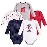 Hudson Baby Baby Cotton Long-Sleeve Bodysuits, Apple, 0-3...