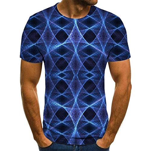 Herren 3D T-Shirt Druck Schnelltrocknendes Sommerhemd Große Mode Kurzarmhemd Lässige Persönlichkeit S Navy Blue