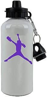Personalized Custom Softball Pitcher Aluminum White 20 Ounce Sport Water Bottle, 2 Lids Customizable