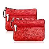 Hibate 2X Rojo Mini Cuero Monedero para Mujer Señoras Niña Hombre Piel Monedas Cartera