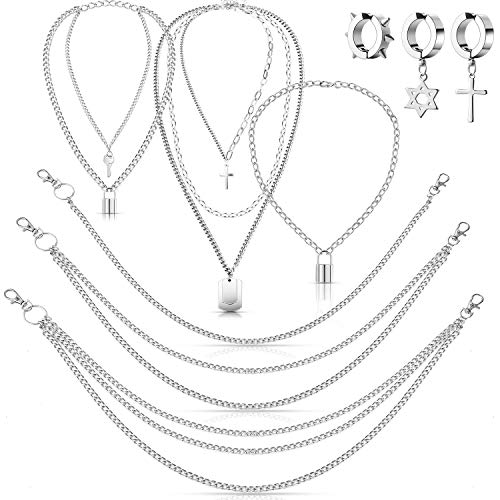 9 Pieces Punk Layered Eboy Necklace Jeans Wallet Pants Chain Earring Set