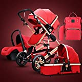 GSJZ Prams and Pushchairs from Birth,Travel System 3 in 1 Stroller Buggy with Diaper Bag Backpack, High Landscape Anti-Shock Baby Child Pushchair Reverse or Forward Facing (Red)