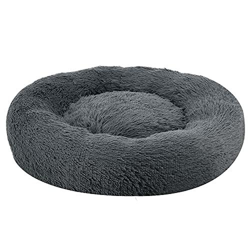 Juskys Haustierbett Monty M 60 cm – Hundebett rund für Hunde & Katzen – Katzenbett flauschig & waschbar – Hundekissen in Donut Form – Dunkelgrau