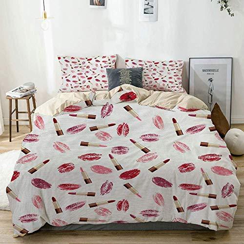 Juego de funda nórdica beige, tema de belleza, lápiz labial rosa y burdeos y concepto de maquillaje con patrón de beso, juego de cama decorativo de 3 piezas con 2 fundas de almohada, fácil cuidado, an