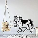 Pegatina de pared de vinilo extraíble pegatina de pegatina habitación de niños lindo vaca mural decorativo 58x 74cm