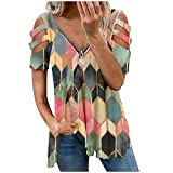 889 Geometry Graphic Blouse for Women V Neck Tops Front Zip Tshirt Hollow Out T Shirt Fashion Loose Tees Red