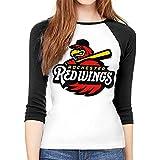 Rochester Red Wings 女性たち 3/4 Sleeve 長袖 Tshirt Slim Baseball Tee