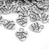 100 unidades de colgantes de corazón antiguos hechos a mano con amor, con botones de metal hechos a mano, hechos a mano, para fabricación de joyas, accesorios, manualidades y decoración.