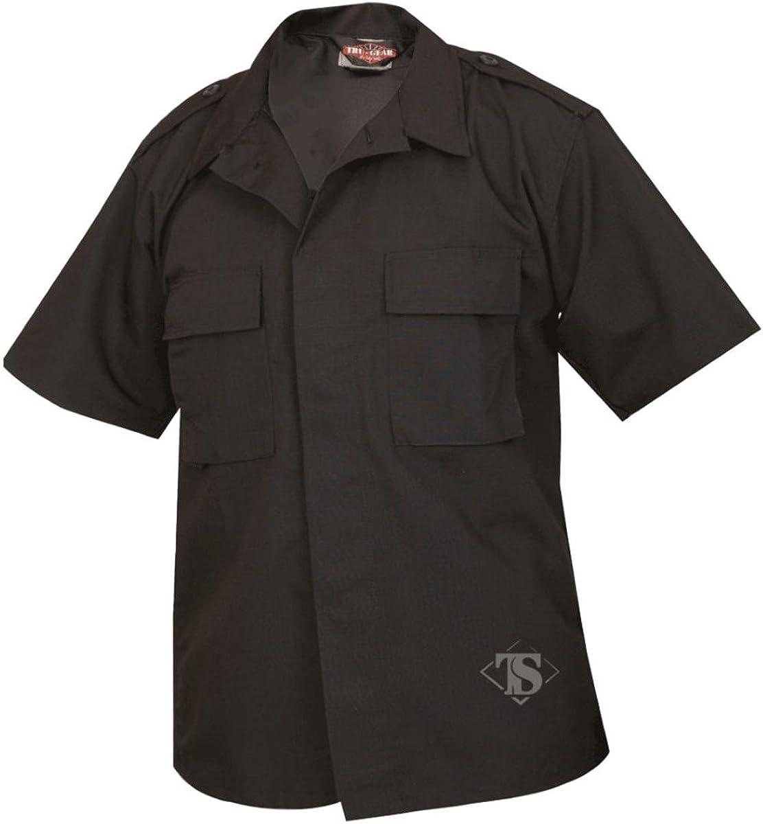 Tru-Spec 1000 Mens Short Sleeve Tactical Shirt, Rip-Stop, Black