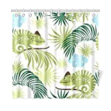 Presock Home Decor Bath Curtain Tropical Chameleons Polyester Fabric Waterproof Duschvorhang for Bathroom, 72 X 72 Inch Duschvorhangs Hooks Included