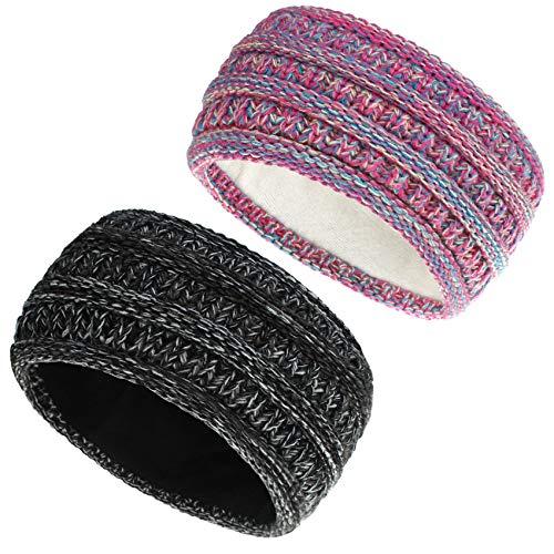 COUXILY 2 Stück Mädchen Stirnbänder Winter Ohrenwärmer Stirnband gefüttert mit weichem Fleece Innenfutter Damen Stirnband gestricktes Haarband (D02)