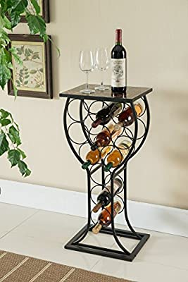Decorative Floor Wine Rack with Marble Finish Top