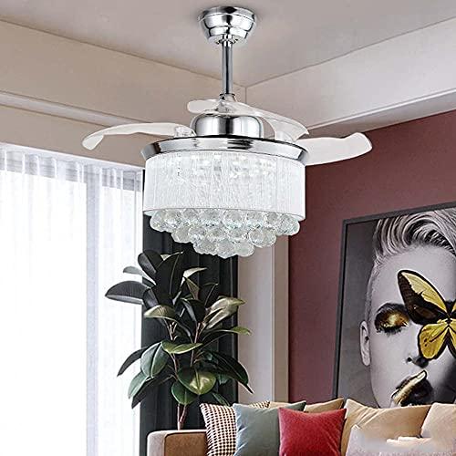 Ventilador de techo de cristal con luz con hojas retráctiles de ventilador Luces de ventilador de techo con control remoto Luz de araña con velocidad ajustable para dormitorio