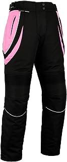 Pantalones de motociclismo para mujer - Impermeables y con protector homologado por la CE - Negro y rosa