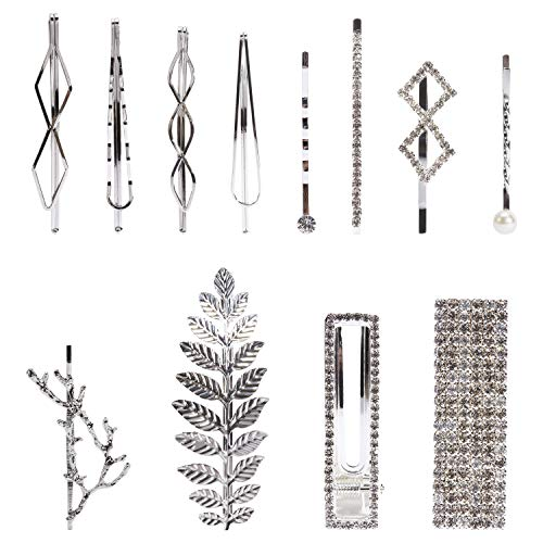 12 Pack Silver Vintage Retro Geometric Metal Pearl Crystal Rhinestone Branch Leaf Hair Clips Snap Barrettes Claw Clamps U Shaped Decorative Bobby Pin Alligator Hairclips Wedding Party Bridal Accessory