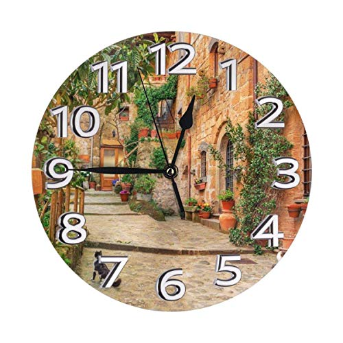 Xiaoxian Rustic Tuscan Style Italy Quiet retro design wooden wall clock without scale wall clock home decoration wall clock fashion standable clock