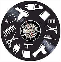 ビニールレコード壁時計理髪店壁時計モダンデザイン美容師時計ヘアサロンビニールレコード壁時計家の装飾ミュート