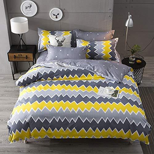 Kugkiukay, set copripiumino per letto matrimoniale, copri trapunta, colore giallo blu, Yellow, Double(Duvet Cover Set)