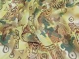 Braun Grün dekorativer Druck Chiffon Kleiderstoff