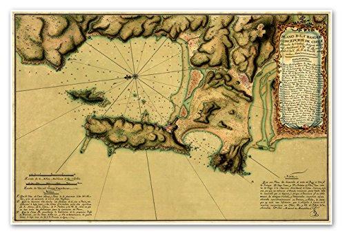 Antiguos Maps - Plano de la Bahia de Concepcion de Chile situada la Ciudad Antigua en latitud meridional de Tenerife observadas astronomicamente - Measures 24 in x 36 in (610 mm x 915 mm)