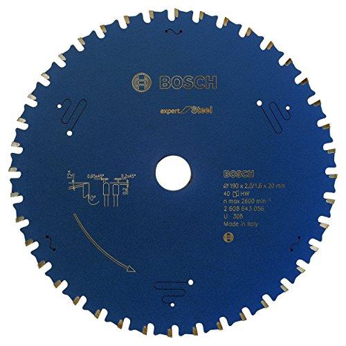 Bosch Professional Kreissägeblatt Expert für Steel, 190 x 20 x 2,0 mm, 40, 2608643056