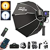 Weeylite 60W LED Continuous Video Light, Bi-Color 2800-8500K Continuous Output Lighting Kit with Softbox/NP-970 Battery, Dimmable LED COB Studio Lights for Photography Video Recording Portrait Wedding