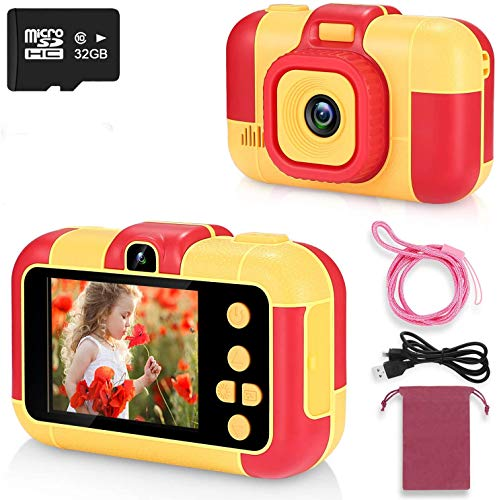 ASIUR Kinder Digitalkamera 1080P HD Video Wiederaufladbare Spielzeugkameras Kinder Camcorder für Mädchen und Jungen 3-8 Jahre alt Geburtstag Weihnachten Neujahr Geschenk (rot)