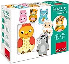 Goula- Puzzle magnético animales granja - Puzzle de madera a partir de 1 año